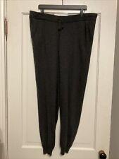 Eileen Fisher Charcoal Gray 100% Merino Wool Drawstring Jogger Pants Size XL