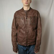 Levis Mens Leather Jacket Brown Biker