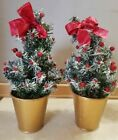"""2 Mini Artificial Snow Covered 9"""" Christmas Trees in Gold Pots Red Bows Berries"""