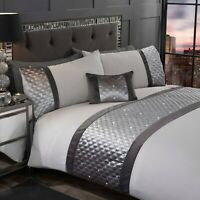 Rapport Hollywood Embellished Band Detail Duvet Cover Bedding Set Grey / Silver