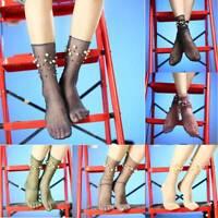 Woman Girls Glitter Shiny Pearl Socks Mesh Thin Bead Gauze Transparent Socks T