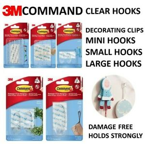 Command Hooks Clear DECORATING CLIPS MINI SMALL MEDIUM LARGE Stick on UK 3M