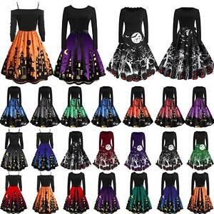 Women Swing Skater Dress Halloween Party Vintage Long Sleeve A-Line Midi Dresses