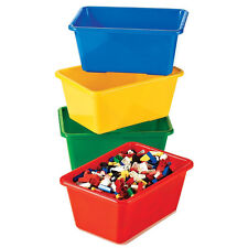 Kids Small Plastic Bin 4pc Set Toy Book Storage Closet Organizer Primary Color