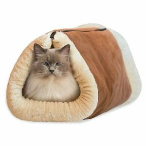 Two-In-One Cat Cave and Bed with Self-Heating Thermal Core No Electric Blanket