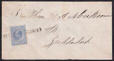 Envelop met naamstempel Krimpen aan de Lek op 5c zegel 1872  naar Lekkerkerk
