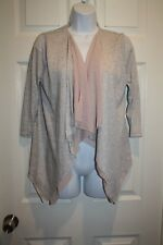 Brixon Ivy Womens Small S Shirt Top Open Front Heather Gray Peach Long Sleeve