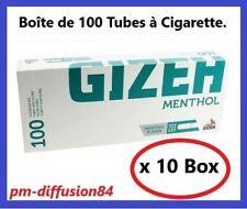 1000 TUBES à Cigarettes avec Filtres. GIZEH Menthol - 10 Boîtes de 100 Tubes