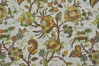 Home Decor Drapery Upholstery Floral Tan Beige Textured Fabric 4+ Yds