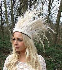 Cream Ivory Feather Headdress Native American War Bonnet Headband Festival 2331