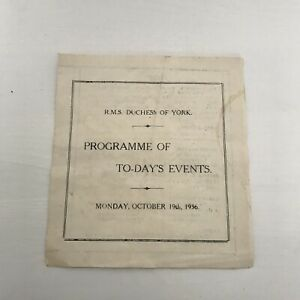 RMS DUCHESS OF YORK PROGRAMME OF TO-DAYS EVENTS  OCT 19TH 1936
