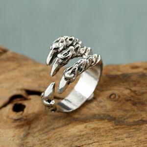 Men Women Steel Skull Claw Head Biker adjustable Ring