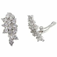 Sterling Silver White CZs Graduated Cluster Women Clip On Earrings