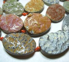 """Natural Gray Agate Multi-Color Accents Rock Matrix 28x40mm Large Oval 5 Beads 8"""""""