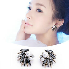 New Fashion Women Ear Stud Irregular Big Earrings Faux Pearl Rhinestone Jewelry