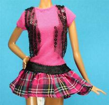 Sparkle Girlz Pink Vest Black Goth Plaid Skirt Dress fits Barbie Fashion Doll