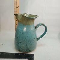 "Signed 8"" unique Studio Art Pottery Pitcher Hand Thrown Jug Hassle? Vintage"