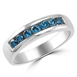 1.00CT Men's  Blue Round Cut Engagement Ring Wedding Band 14k White Gold Over