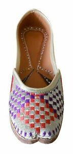Women Shoes Indian Handmade Leather Loafers Casual Mojari Flip-Flops US 5.5