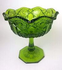 L E Smith Heritage Quintec Green Glass Stemmed Footed Compote Candy Dish Bowl
