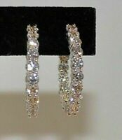 1.50Ct Round Cut VVS1/D Diamond Hoop Earrings Solid 14K White Gold Finish