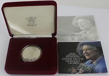 2002 Argento Proof £ 5 Corona Regina Madre Memorial in scatola con cc