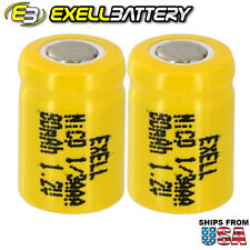 2x Exell 1/3AAA NiCD 80mAh 1.2V Flat top Rechargeable Battery