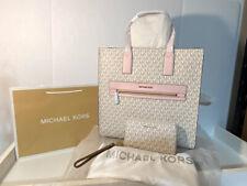 MICHAEL KORS KENLY LARGE NS TOTE SATCHEL PVC LEATHER MK WHITE PINK & LRG WALLET