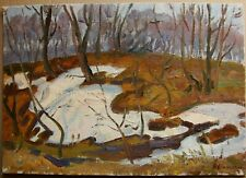 Russian Ukrainian Soviet Oil Painting impressionism landscape last snow spring