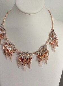 M Haskell For Inc.  Rose Gold Tone Crystal & Chain Statement Necklace $34.50 Inc