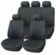 SKODA Rapid Todos Los Modelos Negro Deporte cubiertas de asiento con ribetes azul