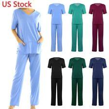 New listing Unisex Scrub Full Sets Uniform Medical Doctor Nursing Scrubs V-Neck Top and Pant