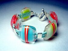 Handcrafted Multi Colored JanArt Fused Glass Designer Bracelet with 925 Clasp