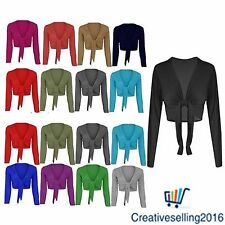 New Womens Tie Up Front Ladies Long Sleeve Plain Cropped Shrug Cardigan Top 8-26