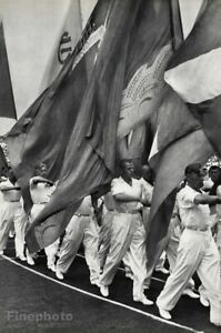 1950 Moscow Sports Day Flag Parade Russia Photo Gravure By Henri Cartier-Bresson