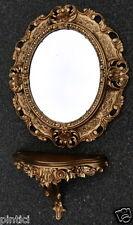 Espejo de pared Ovalado Oro con consola Bandeja 45x37 baño