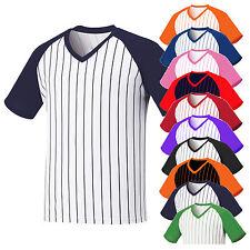 Herren Baseball Raglan T Shirts V Ausschnitt Gestreift V-Neck Stripe Jersey Tops