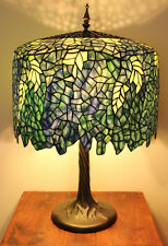 "Tiffany Style Stained Glass Wisteria 3 light 25"" Table Lamp"