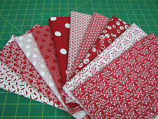 10 Fat Quarter Quilt Fabric Lot - Red and White A1