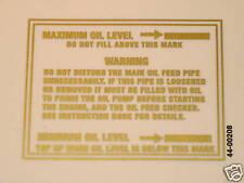 Maximum Minimum oil Level decal gold peel and stick vinyl Triumph Norton BSA