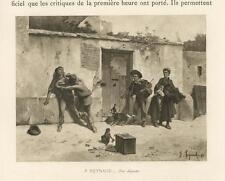 ANTIQUE SPANISH COSTUME MONKEY DECK OF CARDS DOG MEN FIGHT MINIATURE PRINT