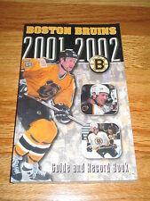 2001-02 BOSTON BRUINS Guide and Record Book JOE THORNTON JASON ALLISON