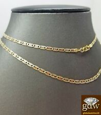 Real Trio-Gold Women's Link Chain with Diamond Cuts and 24 Inches, Lobster Clasp