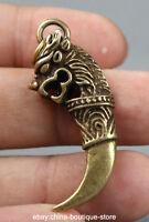 45MM Small Curio Chinese Bronze  Zodiac Animal Dragon Head Tooth Wealth Pendant