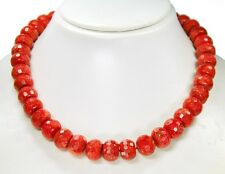Stylish Precious Stone Necklace in Coral in Faceted Wheel Form