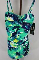 Shore Shapes Womens Ladies Green Multi Color 1 Piece Swim Suit Size 12 NEW