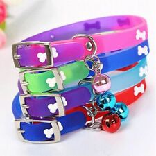 1PC PU Leather Pet Dog Cat Collars With Bells Silicon Personalized Bone  Pattern