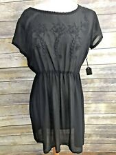 New Forever 21 Dress Tunic Black See Through Sheer Swim Cover Up Patterned M