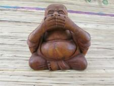 20cm Happy Buddha Holz Glücksbringer Nichts sprechen Fair Trade BX2