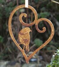 hübsches Herz mit Vogel Anhänger für Türkranz Fensterdeko Edelrost Dekoration